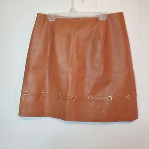 Finders Keepers tan faux leather skirt M